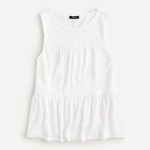 J Crew Linen Tiered Tank Top White Size M